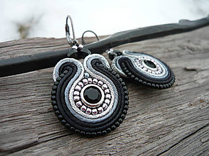 Náušnice - Soutache náušnice Silver Night - 8750168_