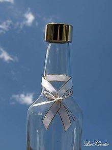 Darčeky pre svadobčanov - Stužky na fľaše na svadobný stôl - 8749589_