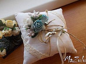 """Prstene - svadobný vankúšik """"vintage"""" IV - 8745203_"""