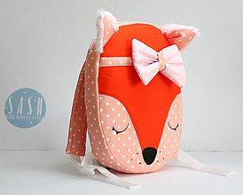 Detské tašky - RUKSAK baby LÍŠKA oranžový 2,5r. (Ružová mašlička) - 8744429_