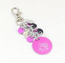 Kľúčenky - Přívěšek na kabelku, klíče s růžičkou - 8744588_