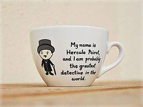 Nádoby - Maľovaný hrnček - Hercule Poirot (detektív Poirot) - 8745356_