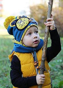 Detské čiapky - Petrolejovo - horčicový set - 8748224_