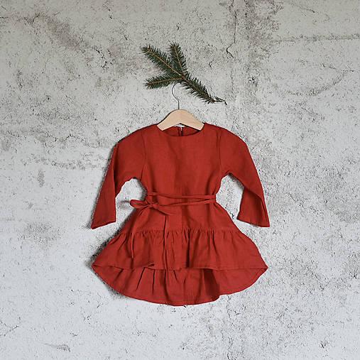 Detské oblečenie - Detské ľanové vianočné šaty - 8747555_