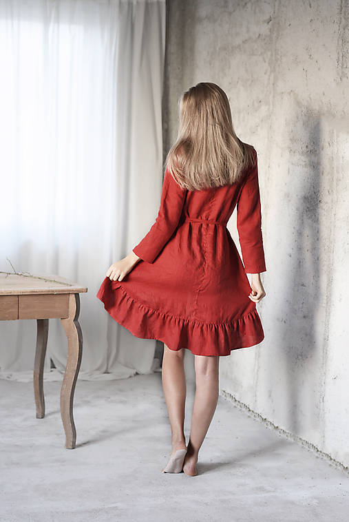 302bf8eccd Šaty - Dámske ľanové vianočné šaty - rôzne farby - 8750374
