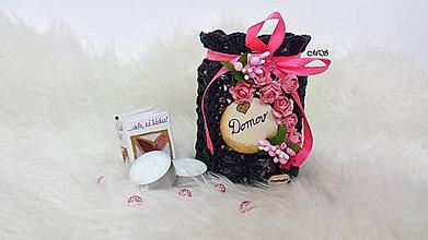 Svietidlá a sviečky - Svietnik - ANTRACIT s ružovou RUŽIČKOU - 8747115_