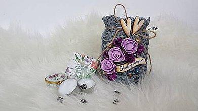 Svietidlá a sviečky - Svietnik - SLADKÝ DOMOV (fialový kvet) - 8747375_