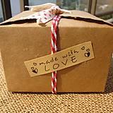 Papier - Nálepka made with love (10 ks) 5,5 x 1,5 cm - 8749035_