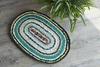 Úžitkový textil - Malý farebný háčkovaný oválny RECY koberček :) - 8750478_