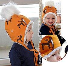 Detské čiapky - Zimná ušianka  s menom Reindeer mustard & fleece cream - 8746705_
