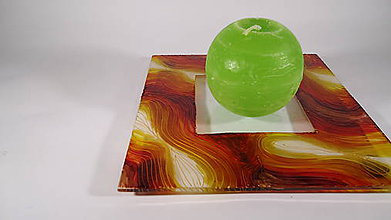 Svietidlá a sviečky - Podnos sklenený na sviečku - 8747689_