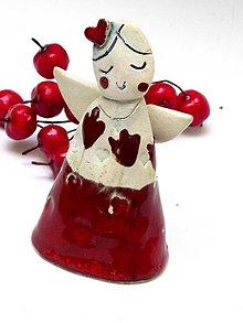 Dekorácie - anjel  princezná  červený - 8746299_