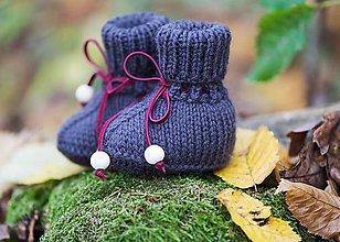 Topánočky - Pletené detské papučky - 8746304_