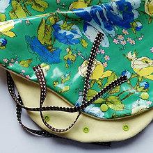 Rukavice - rukávniky na bicykel (modré a žlté ruže na zelenej) - 8749698_