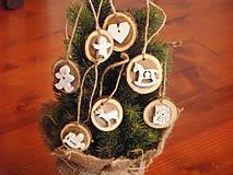 Dekorácie - Sada drevených ozdôb na stromček - prírodné - 8744436_