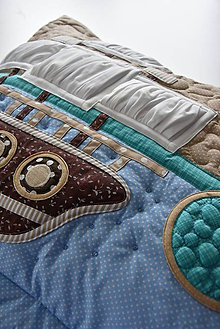 Úžitkový textil - Pirátska loď a rybky - vankúš - plachty skladané. - 8744925_