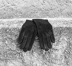 Rukavice - Černé dámské semišové rukavice s hedvábnou podšívkou - 8748873_