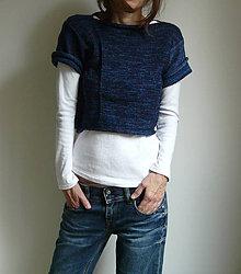 Svetre/Pulóvre - modrofialový krátky pulover - 8749045_