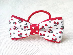 Ozdoby do vlasov - Romantic hair bow (white/red/dots/flowers) - 8754302_