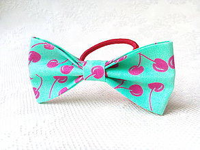 Ozdoby do vlasov - Turquoise hair bow with pink cherries - 8754312_