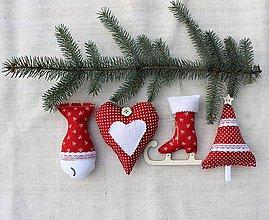 Dekorácie - Sada vianočných ozdôb ♥ Červená - 8753696_