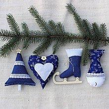 Dekorácie - Sada vianočných ozdôb ♥ Modrá - 8753853_