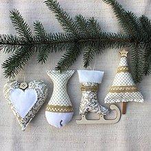 Dekorácie - Sada vianočných ozdôb ♥ Zlatá - 8754708_