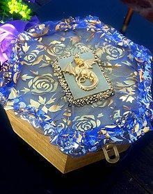 Dekorácie - šperkovnica - zlatý drak - 8751273_