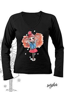 Tričká - Dámske tričko čierne dlhý rukáv- Anjelka korčuliarka - 8751039_