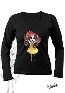 Tričká - Dámske tričko čierne dlhý rukáv- Anjelka s mačičkou - 8751057_