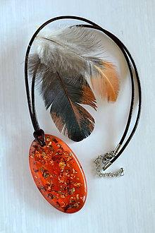 Náhrdelníky - Náhrdelník Oranžový ovál (2303 A CHO) - 8755060_