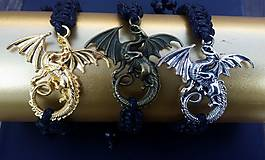Náramky - Náramok čierny - drak v troch farbách - 8752637_