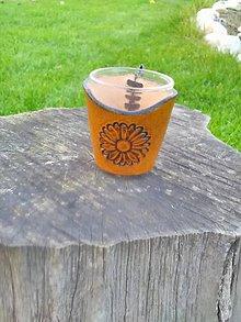Nádoby - Štamprlík s koženým obalom /margaretka/ - 8752714_