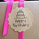Nálepka happy birthday (6 ks) 3,9 cm