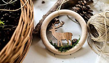 Dekorácie - Jelenček v  drevenom krúžku - 8754852_
