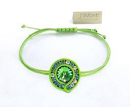 Náramky - Mini soutache náramok (zelený) - 8750585_