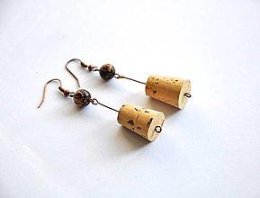 Náušnice - korkové s drevenou guličkou - 8751425_