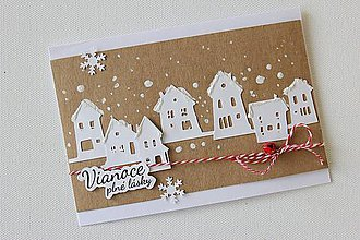 Papiernictvo - Vianočná pohľadnica - zasnežená dedinka - 8753573_
