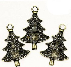 Komponenty - Prívesok vianočný stromček mosadz - 8754518_