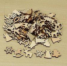 Galantéria - Drevené výrezy vianoce (balíček 50ks) - 8754530_