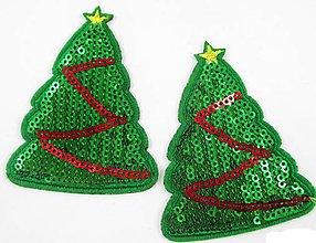 Galantéria - Flitrová aplikácia vianočný stromček - 8754662_