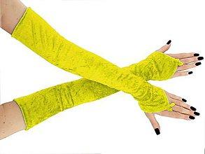 Rukavice - Spoločenské zamatové růžové dámské rukavice opera  0925 (Žltá) - 8760636_