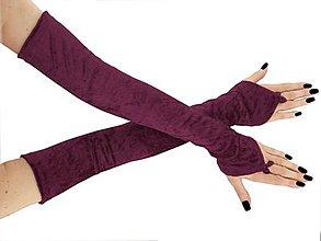 Rukavice - Spoločenské zamatové růžové dámské rukavice opera  0925 (Bordová) - 8760639_