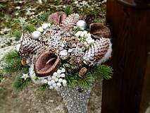 Dekorácie - Vianočná kytica + váza - 8759348_