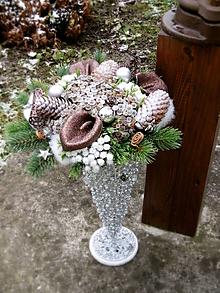 Dekorácie - Vianočná kytica + váza - 8759347_
