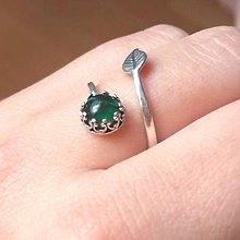 Prstene - Simple Green Tourmaline Silver Ring Ag 925 / Jemný strieborný prsteň so zeleným turmalínom /0457 - 8757786_