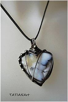 Náhrdelníky - Cínovaný prívesok z prírodného merlinitu - 8757434_
