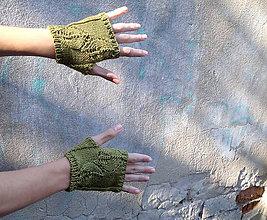 Rukavice - Návleky bavlnené zelenohnedé - 8759802_