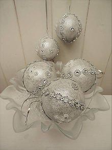 Dekorácie - Sada -vianočné gule (Strieborná) - 8759464_