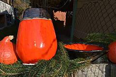 Nádoby - Váza a miska oranžovozlaté - SET - 8755699_